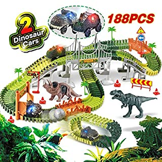 HOMOFY Dinosaur Toys 188Pcs Race Car Flexible Track, Create a Road,2 Dinosaurs,2 Cars Vehicle Playset,Perfect Birthday Toys for 3 4 5 6 Year Old Boys and Girls Kids