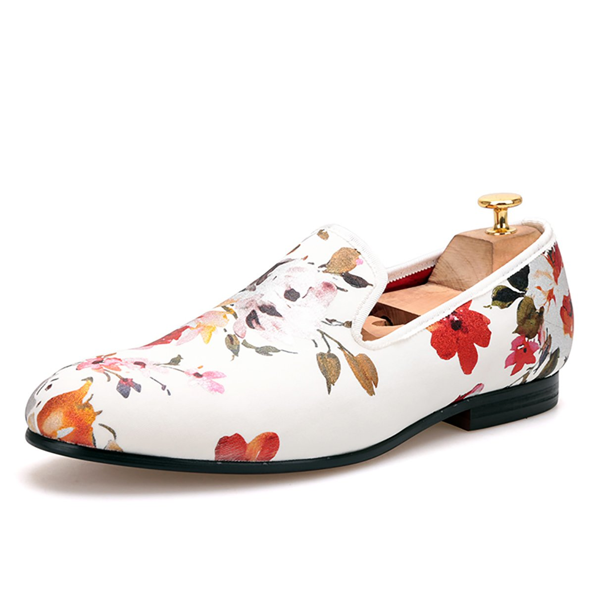 HI&HANN White Color Print Gold flower China Style Men's Dress Loafer Party and wedding Porm Men Shoes Smoking Slipper-10-Multi