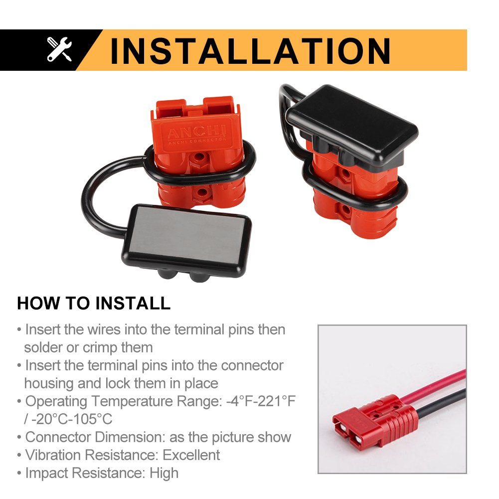Bunker Indust Battery Quick Connect Wire Harness Plug Kit 50a 6 10 Trailer Wiring Gauge Cable