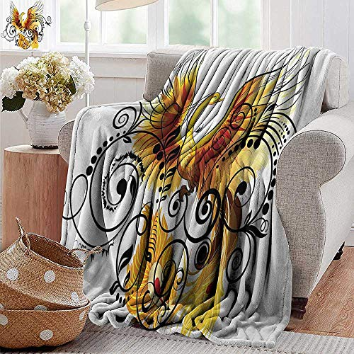 "PearlRolan Couch Blanket,Animal,Mystic Bird Phoenix Floral Ivy Leaves with Wings Feathers Print Image,Yellow White Black Brown,Warm & Hypoallergenic Washable Couch/Bed Throws, Microfiber 50""x60"""