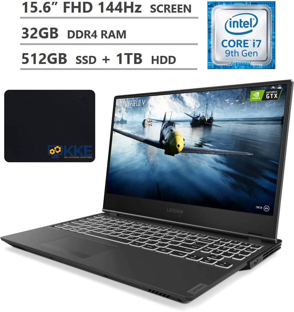 "Lenovo Legion Y540 Gaming Laptop, 15.6"" Full HD 144Hz Screen, Intel Core i7-9750H Processor, NVIDIA GeForce GTX 1660 Ti 6GB, 32GB RAM, 512GB SSD + 1TB HDD, Backlit Keyboard, Windows 10, KKE Mousepad"