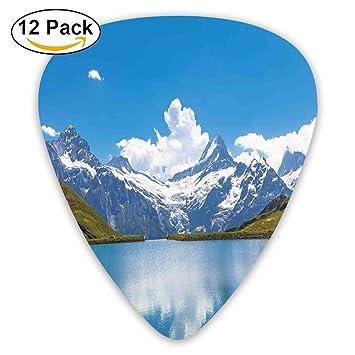 LOGENLIKE Dreamy View of Alpine Lake with Snow Frozen Peaks 12 Púas de Guitarra Coloridas, Elegantes, de Calidad Premium, Perfectas para Niños y ...