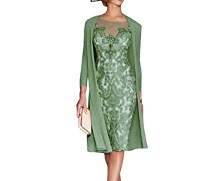 Sky Dress Women's Mother of The Bride Dresses Tea Length with Jacket SD001OL-US16