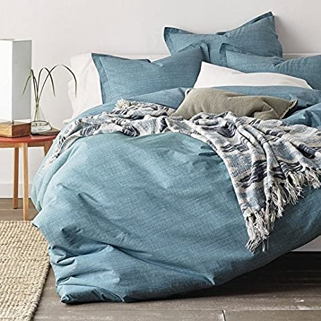 amazon com cstudio home canvas percale duvet cover queen blue home