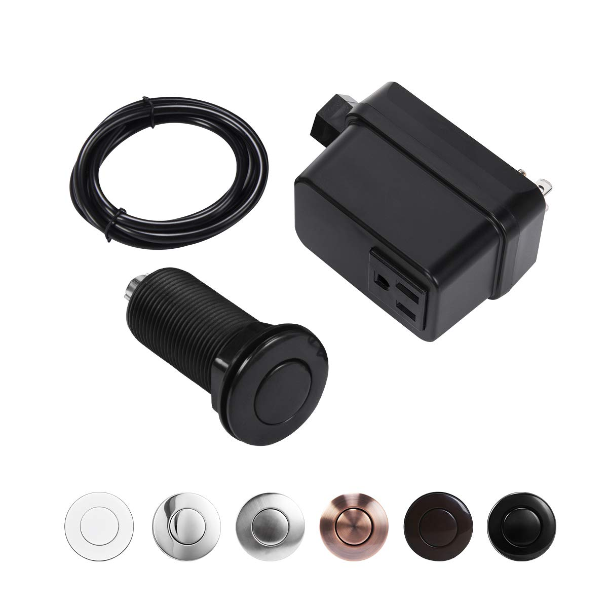 CLEESINK Garbage Disposal Air Switch Sink Top Kit with Single Outlet Black LONG/2.5""