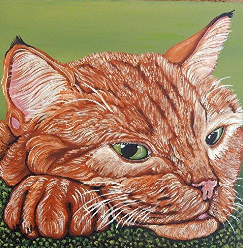 Orange Tabby Portrait - Original Painting Orange Tabby Pet Cat Portrait Art-8 x 8 inch deep set stretched canvas-free shipping-Carla Smale