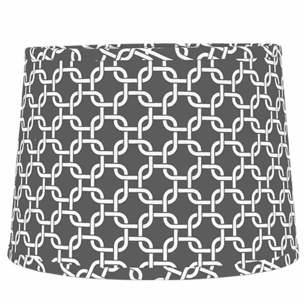 Home Collection by Raghu 6D990083 Grey & White Greek Key Washer Drum Lampshade, 16''
