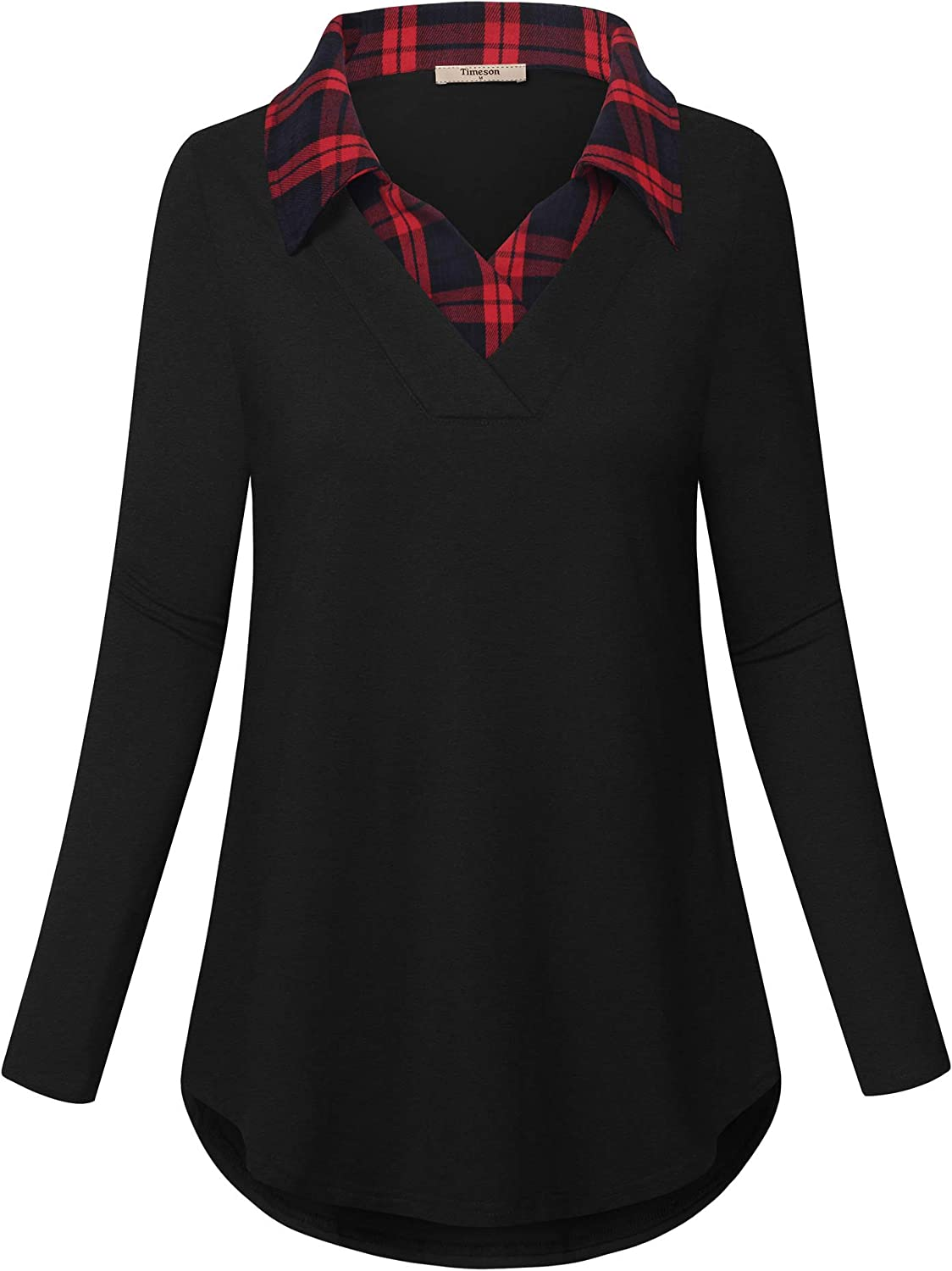 Timeson Women's Long Sleeve Contrast Collar Shirt Plaid V Neck Office Tunic Blouse