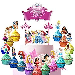 34 Decorations for Disney Princess Cake Topper Cupcake Toppers Set Birthday Party Supplies Decor