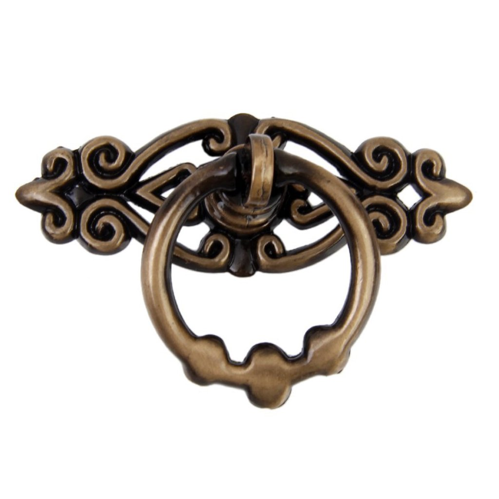 SODIAL(R) Hand grip Handles Chinese Retro Style Single Hole Pulling Furniture Hardware Vintage Ring, Antique Red copper