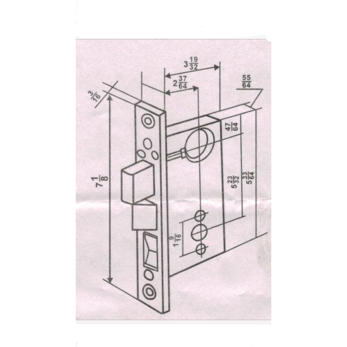 Maxtech Heavy Duty ORNAMENTAL Iron Gate Double Cylinder Mortise Lockset 2-1/2'' Backset 1''X 7-1/8'' Faceplate Polish Brass (Left Hand Reverse )