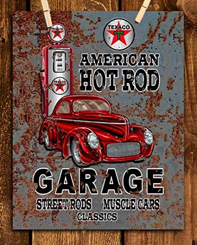"""""""American Hot Rod Garage w/Texaco Pump""""- Vintage Garage Sign Print- 8 x10 Retro Wall Decor- Ready To Frame. Rusted Metal Sign Replica Print. Great Mens Gift-Office Decor. Great for Man Cave-Garages."""