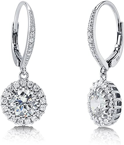 925 STERLING SILVER STIMULATED DIAMOND  RHODIUM PLATED  DANGLE//DROP EARRING