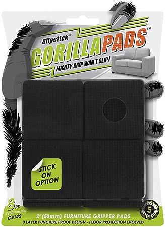 Gorillapads Cb142 Non Slip Furniture Pads Grippers Set Of 8 Furniture Leg Floor Protectors 2 Inch Square Black Amazon Com
