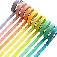 UClever Decorative Washi Tape DIY Rainbow Sticker Masking Paper Set 10 Rolls, 0.3 inch x 16.4ft(WxL) (Ten Colors)