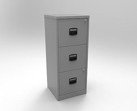 Bisley A4 3 cajón archivador metálico – Color: Plata