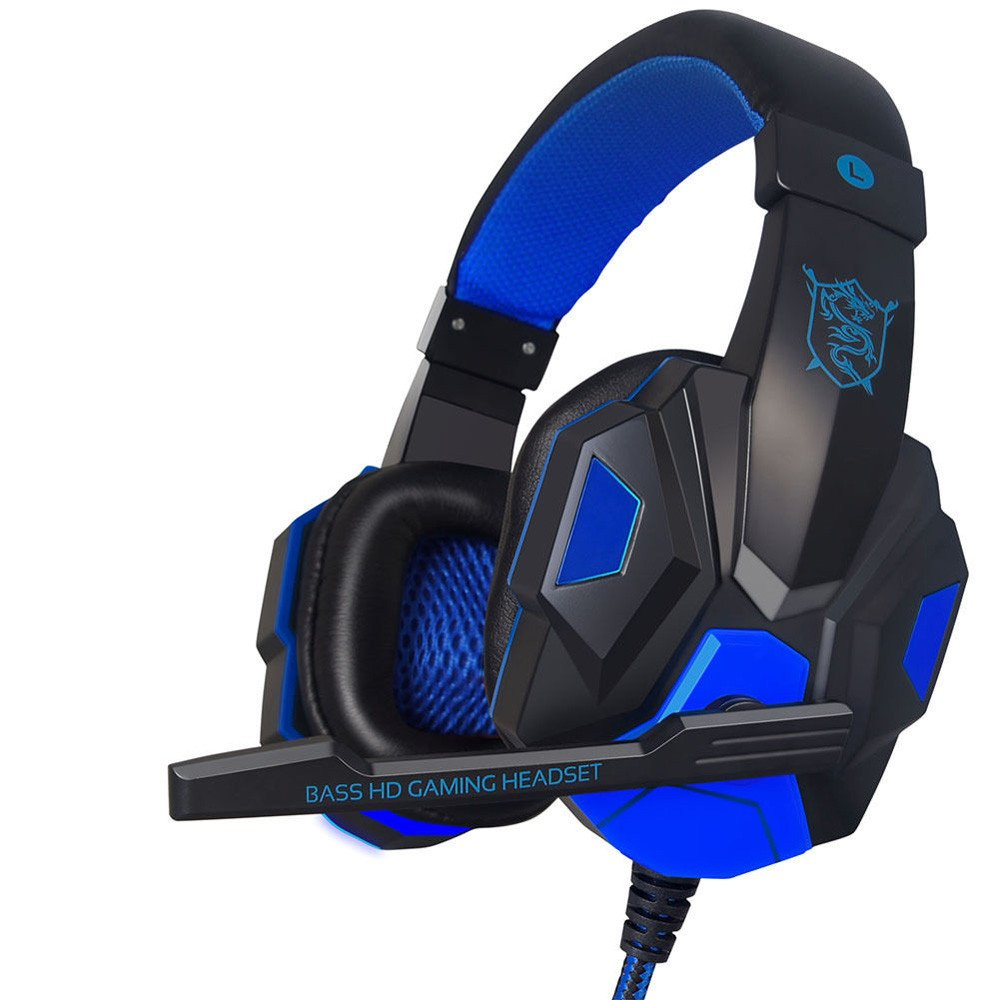 Inkach Stereo Gaming Headset | Wired Headphones with Mic Noise Cancelling for PS4 PC Laptop Phone (Blue) Inkach - Gaming Headset