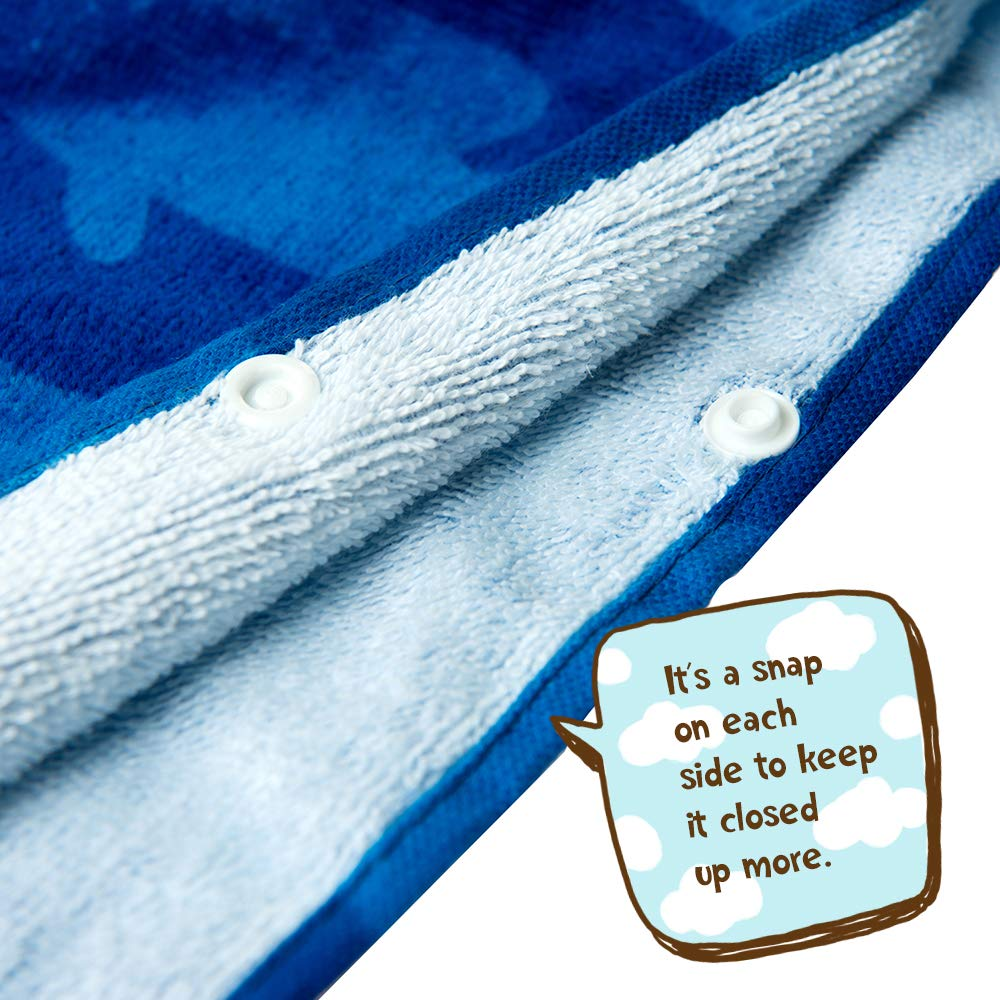 ZINGLIFE Hooded Towels for Kids Baby Boys Girls Toddlers Child Poncho Bath Towel for Beach Pool 100% Cotton Ultra Breathable Soft Enough Thick for Winter Size 24'' x 47''(Brave Shark) by ZINGLIFE (Image #10)