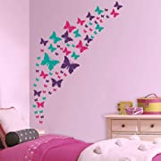 Jeyfel Decals: Butterfly Wall Decals- Purple, Pink & Turquoise Set. DIY Decoration. Beautiful Butterfly Wall Stickers. Girls, Nursery, Room Decor.