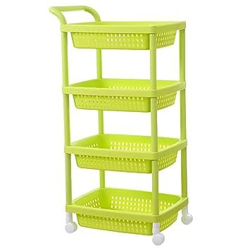 residencia plástico carros/Estantes cuarto de baño con ruedas/ estante del almacenaje de la cocina/ vegetal/ vegetal/ rack-N: Amazon.es: Bricolaje y ...