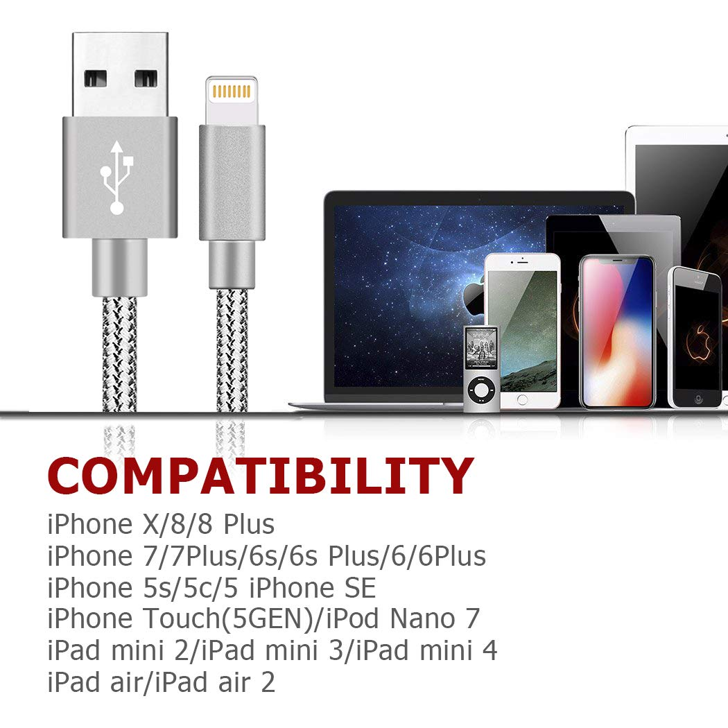 Silver GUIGUI MFi Certified iPhone Charger 4Pack 3FT 6FT 6FT 10FT Nylon Braided Certified USB Charging /& Syncing Cord Compatible iPhone Xs//Max//XR//X//8//8Plus//7//7Plus//6S//6S Plus//SE//iPad//Nan