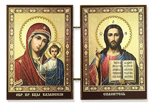 Kazan Icon (Christ the Teacher and Virgin of Kazan Icon Diptych 3 1/2 Inch)