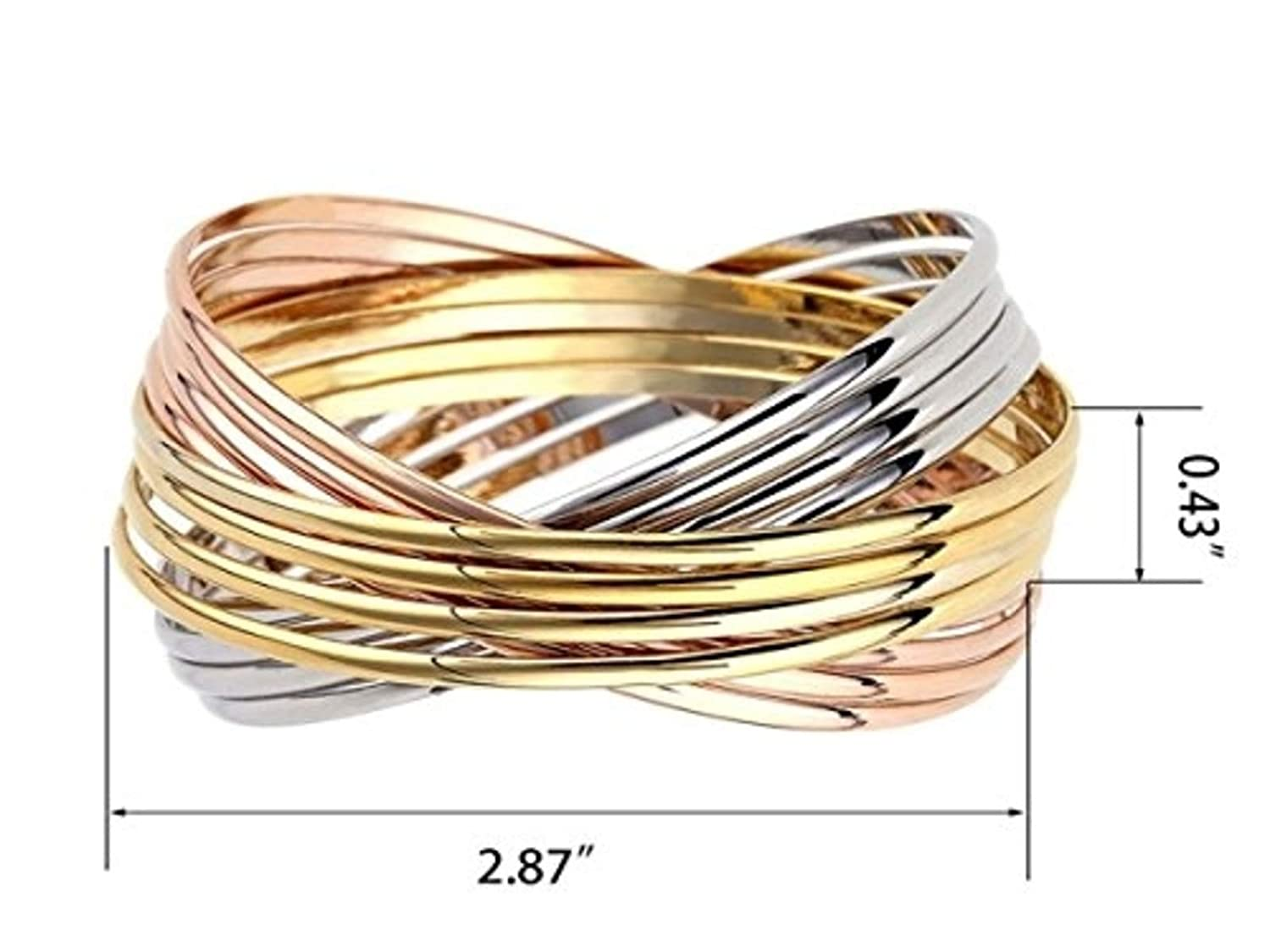 Womens Stainless Steel Bangle Bracelet Set of 7 Tri-Colored Silver//Yellow Gold//Rose Gold Tones Minimalist Jewelry Men Stackable Fashion Trendy Boho Unique Bangles Gifts arm Jewelry Cuff