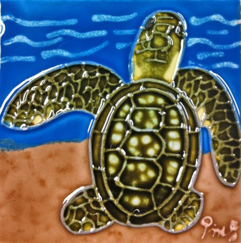 - Continental Art Center SD-113 4 by 4-Inch Sea Turtle No.3 Ceramic Art Tile