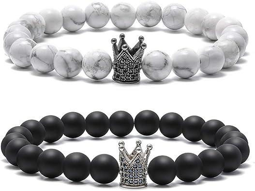 Lava Rock Couples Bracelet for Women - 8mm Natural Stone Bead Couples Bracelet for Men Women Stress Relief Yoga Bracelet Tiger Eye Stone Elastic Mens ...