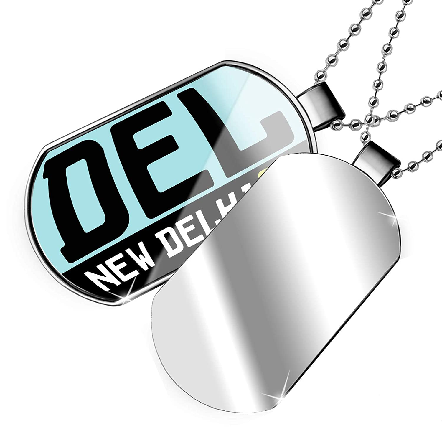 India Dogtag Necklace NEONBLOND Personalized Name Engraved Airport Code DEL//New Delhi Country