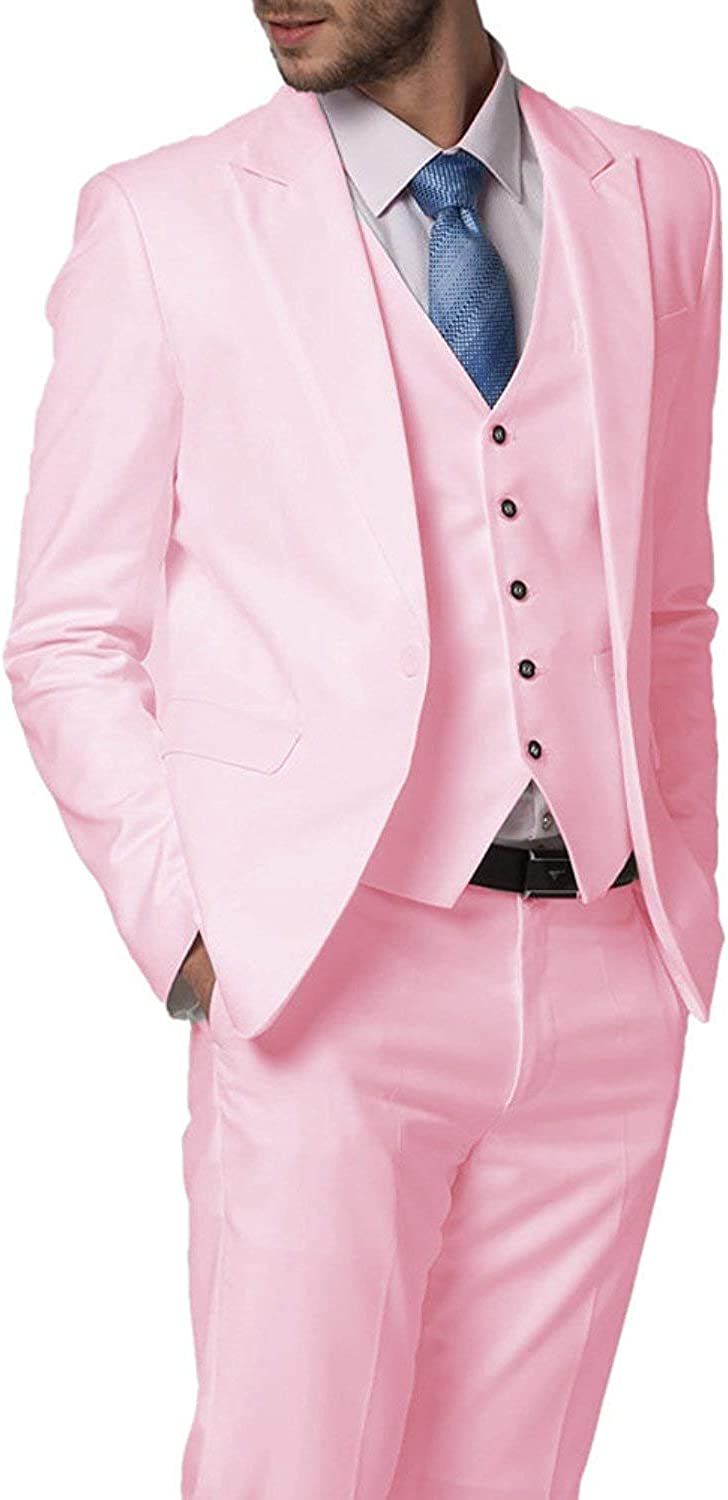 RONGKIM Mens Slim Fit 3 Pieces One Button Blazer Groom Tuxedos Jacket+Vest+Pants for Wedding
