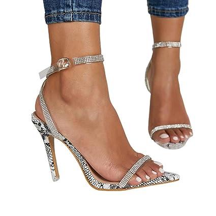 c68e6a5a406 YKARITIANNA Women High Heel Snake Sandals,Ladies Fine Heel Sexy Peep High  Heels Sandals