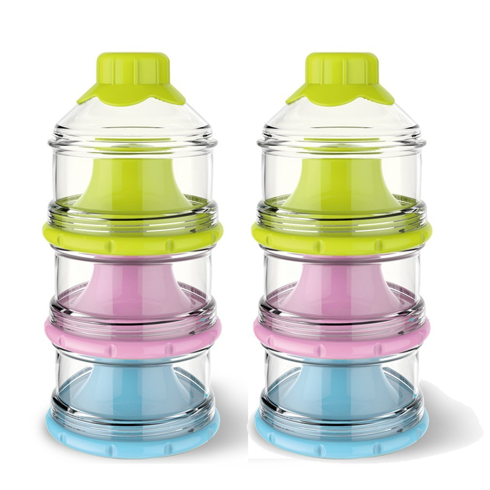 BW Portable Non-Spill Baby Formula Milk Powder Dispenser/Storage Snack Container BPA Free (2 Pack, C)