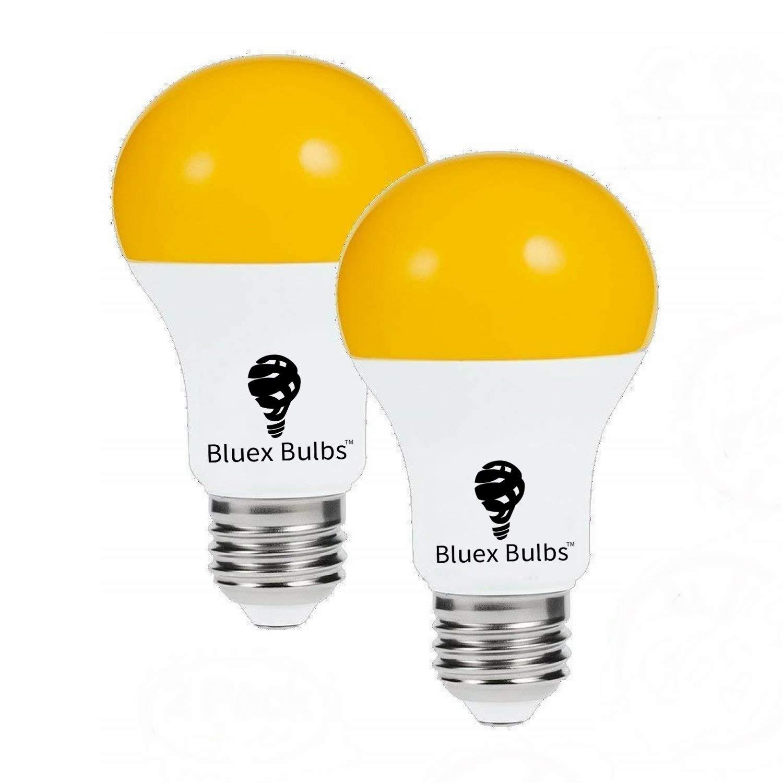 2 Pack LED Dusk to Dawn A19 Bug Light Bulbs, Yellow Bulb, Amber Light with Automatic Sensor Bulb, LED Porch Lights Security Outdoor Bulb, Auto on/Off, 2000K E26, 500 Lumens by Bluex Bulbs