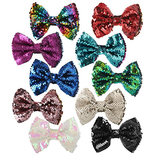 10pcs 5inch Flip Sequins Hair Bows for Girls Bling Sparkle Two Toned Bows with Alligator Clip (5in Flip sequin bows-10pcs) -