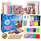 Slime Kit for Girls and Boys - Ultimate DIY Supplies and Add Ins for Slime: Air Dry Clay, Pigment Powder, Fishbowl Beads, Foam Beads, Nail Slices, Glitter Stars, Fake Sprinkles