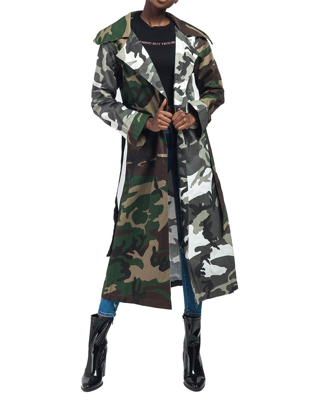 Antique Style Women's Casual Lapel Down Camo Lightweight Outwear Trench Coats Camouflage Printed Longline Safari Jackets Windbreaker Party Club Dress with Belt L by Antique Style