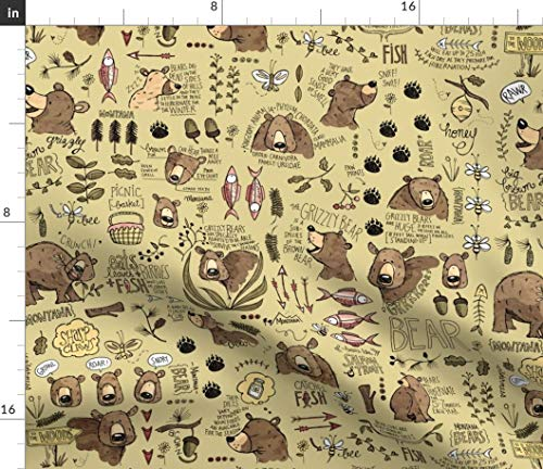 Spoonflower Grizzly Bear Fabric - Montana Woodland Bear Montana Mountain Adventure Bear Bee Fish Woodland by Mulberry Tree Printed on Satin Fabric by The ()