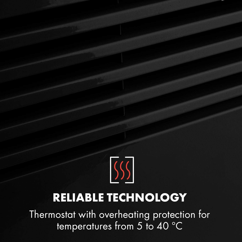 Klarstein Hot Spot Slimcurve Heizger/ät /• Elektroheizung mit Thermostat /• 80 x 40 cm /• R/äume bis 40 m/² /• 2000 Watt /• 5-40 /°C /• LED /• Timer /• IP24 /• Wandmontage geeignet /• schwarz