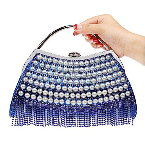 Bracelet Sac Mariage Pochette Sac Gland Diamant De Soirée Perle Coloré Femmes Main Party à Main à Blue Sac wtqBAYxw