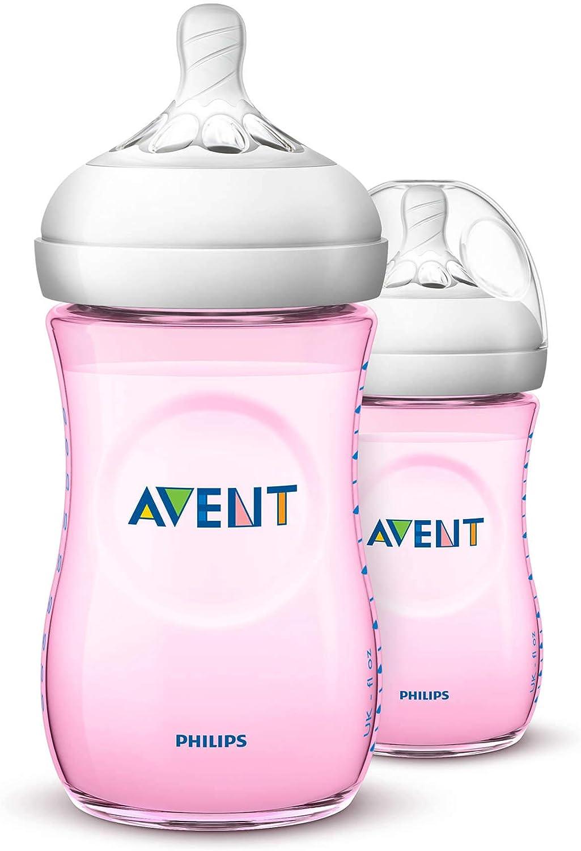 طقم زجاجات تغذية ورضاعة طبيعية من فيليبس افينت، قطعتين بسعة 260 مل – زهري