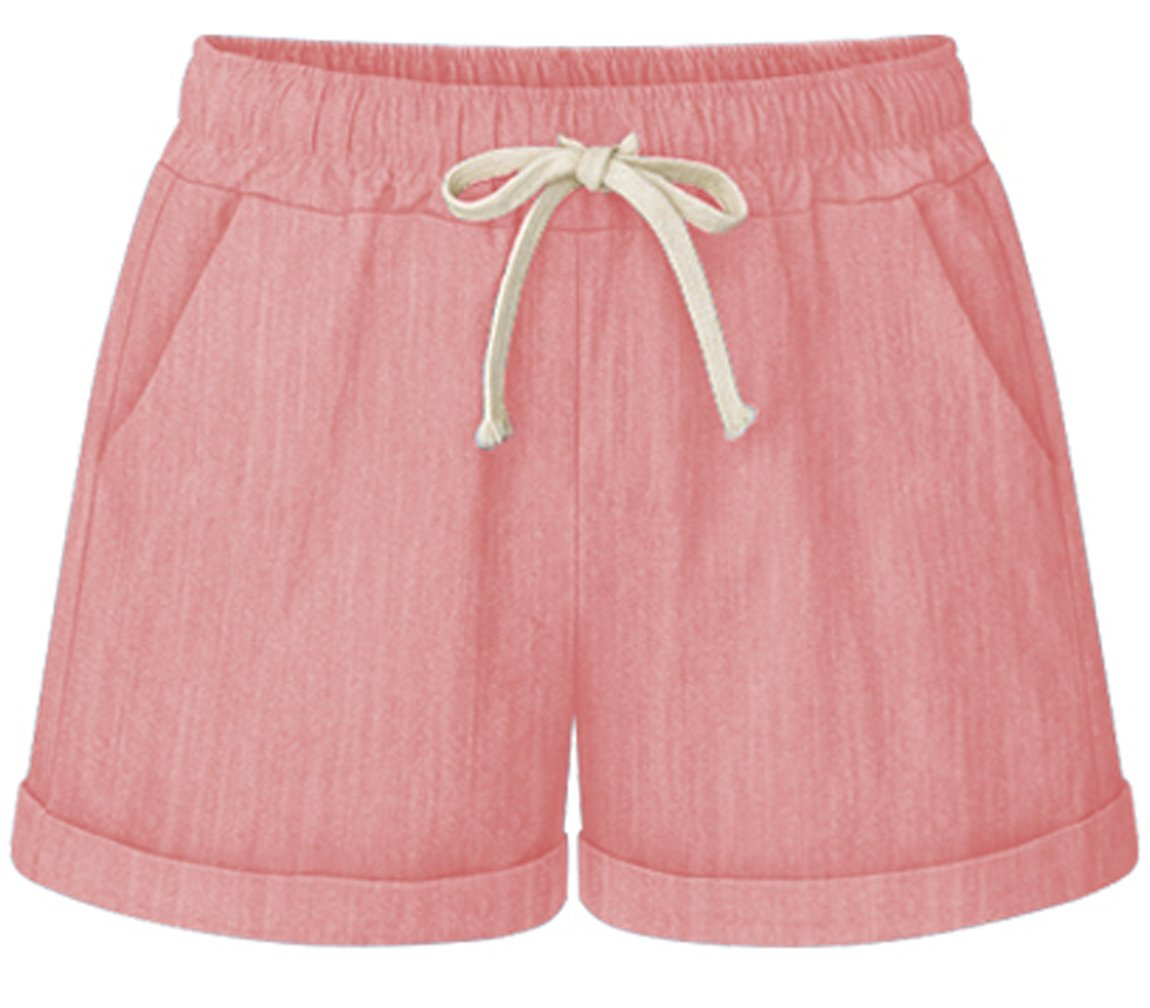 HOW'ON Women's Elastic Waist Casual Comfy Cotton Linen Beach Shorts with Drawstring Pink XXL