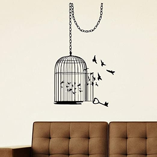 XIAOJIE0104 Decoración del hogar Vinilo Animal Jaula de pájaros ...