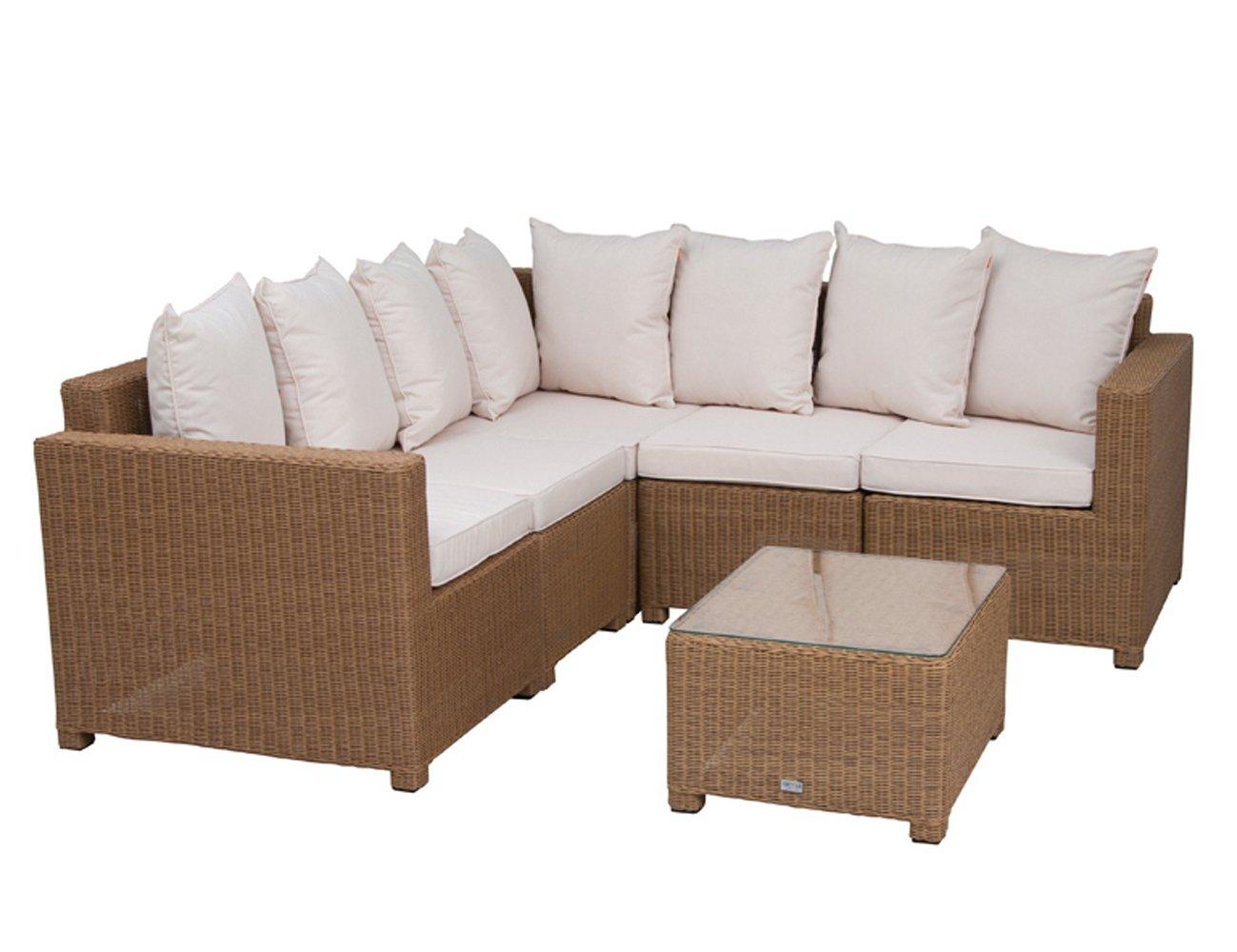 Siena Garden 800286 Lounge-Set Ancona, Aluminium-Untergestell, Gardino-Geflecht hellbraun, Kissen natur
