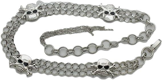Women Hip Waist Belt Silver Metal Chain Skeleton Skull Pirate Bone Charm S M