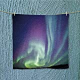 SeptSonne fast dry towel Exquisite Atmosphere Solar Starry Skying Night Green Dark Blue Violet Excellent Water Absorbent Antistatic W13.8 x W13.8 INCH
