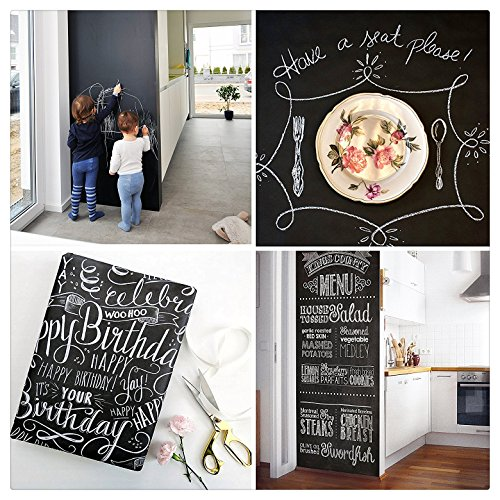 [LIFE OF THE PARTY] Chalkboard Wall Decal! Adhesive Vinyl Blackboard Roll Makes Any Surface, Erasable, Creative & Organizational in Your Home or Office (with 2 Color Markers & 1 Eraser (5' Chalkboard Eraser)