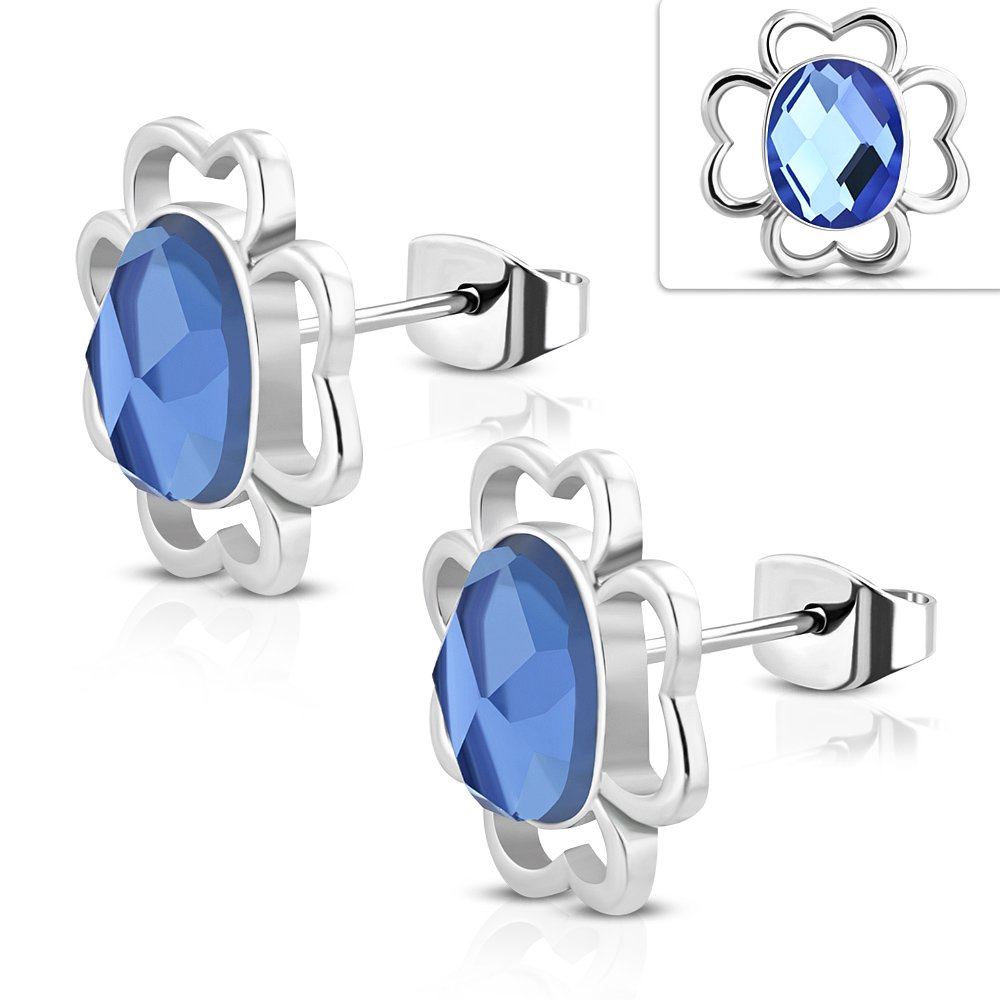 EST092 Stainless Steel Shamrock Flower Stud Earrings w// Faceted Oval Cabochon Sapphire CZ Pair