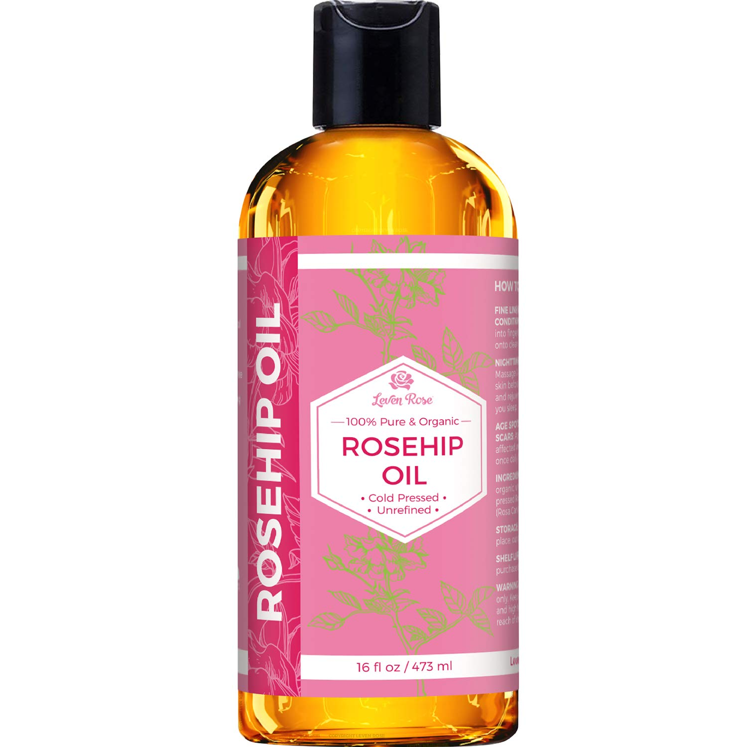 Rosehip Seed Oil by Leven Rose, 100% Pure Organic Unrefined Cold Pressed Anti Aging Moisturizer for Hair Skin & Nails (16 oz)