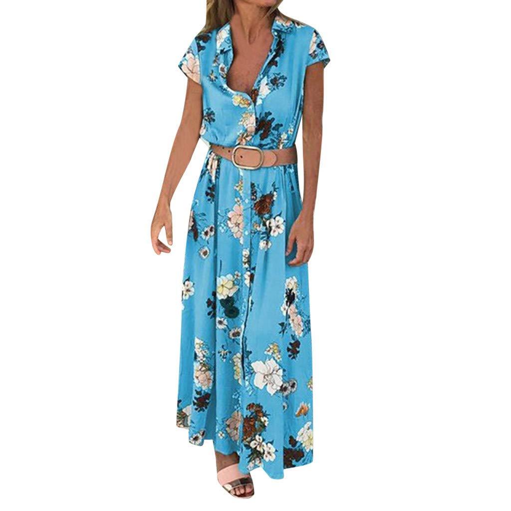 Women Dresses ESAILQ Summer Floral Boho V-Neck Evening Party Beach Dress Short Sleeve Maxi Sundress for Cocktail Wedding Vintage Style Floor Length Dresses